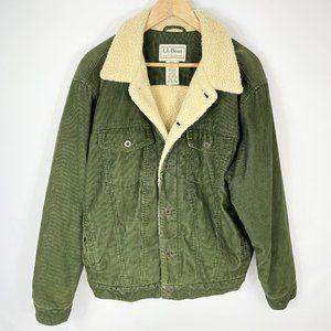 L.L. Bean Green Corduroy Sherpa Lined Jacket L